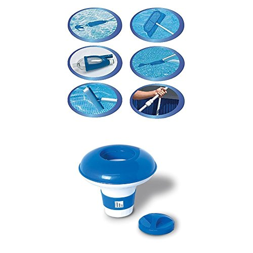 Intex Deluxe Pool Maintentance Kit for Above Ground Pools WITH Swimline 8720 Large Capacity Floating Chlorine Dispenser