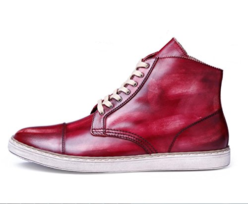 CSDM Scarpe da sposa casual di cuoio genuino del cuoio genuino di di cuoio di cuoio genuino della punta del puntino di cuoio , red , 42