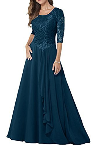 MILANO BRIDE Modest Bridal Mother Dress 1/2 Sleeves A-line Jewel Long Lace-8-Teal