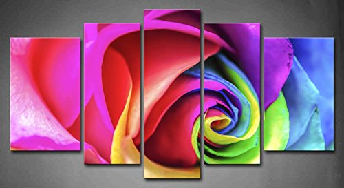 5 Panel Wall Art Purple Beautiful Rainbow Rose Close Up Painting The Picture Print On Canvas Flower Pictures For Home Decor Decoration Gift piece (Stretched By Wooden Frame,Ready To Hang)