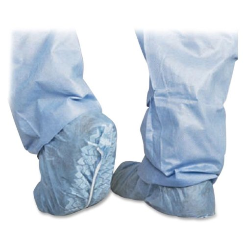 Medline CRI2002 Polypropylene Non-Skid Shoe Covers, Spunbond, Latex Free, Regular/Large, Blue (Pack of 300) - Medline Shoe Cover