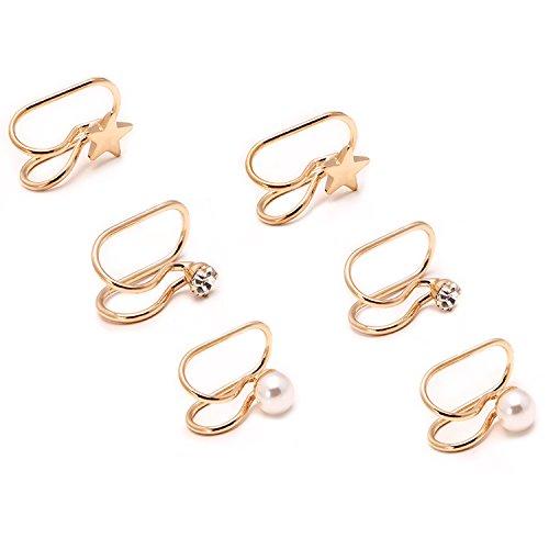 Casfine Cartilage Cuff Earrings Set - Fake Clip on Non-Pierced Ear Cuff Stud Earring Set for Women Girls (No Ear Pierce Cuff)