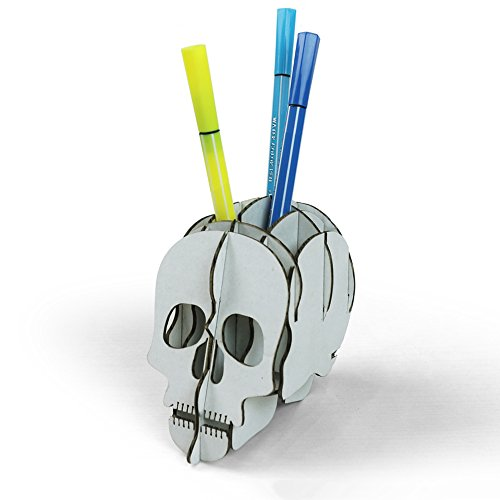 DIY Halloween Decoration Skull Pencil Holder for Desk Creative Stationery by Paper Maker (Big, White) -