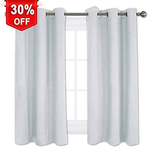 NICETOWN Room Darkening Draperies Curtains Panels, Window Treatment Thermal Insulated Grommet Room Darkening Curtains/Drapes for Bedroom (2 Panels,42 by 45,Platinum-Greyish White) -