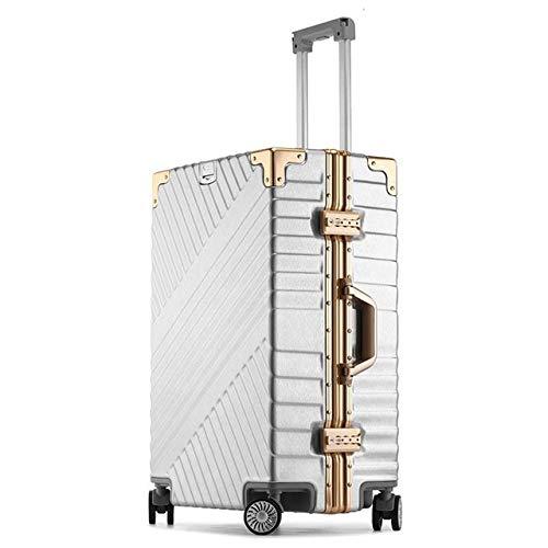 Reclain 高容量クリエイティブローリング荷物スピナースーツケースホイール 20 インチ黒キャビントロリーアルミフレーム旅行バッグ 24\ シルバー B07R2LNPT5