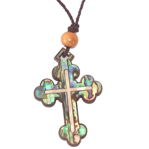 - Byzantine- Orthodox Olive wood Cross with Mother of Pearls (60cm / 23.5 inches, Cross is 5cm or 2 inches)