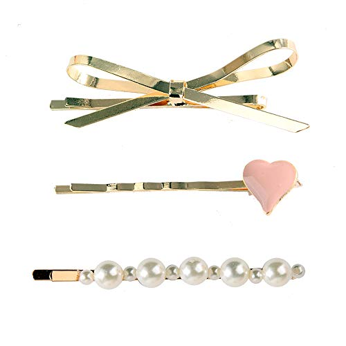 NYKKOLA Pearls Hair Clips Hair Ornaments for Women Girls, 3pcs Large Bows/Clips/Ties for Birthday Valentines Day Gifts Bling Hairpins Headwear Barrette Styling Tools Accessories -