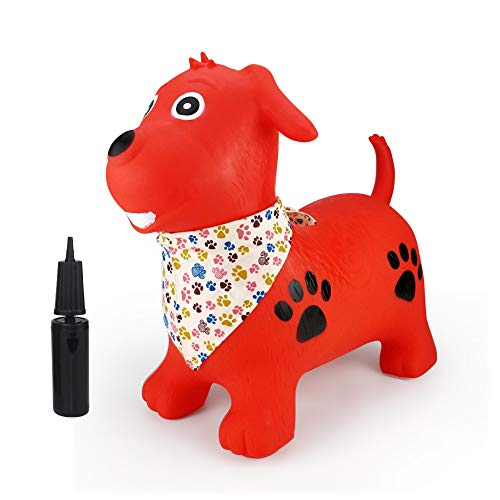 Inpany Jumping Horse Bouncy Hopper Inflatable- Orange Dog Ride on Rubber Bouncing Animal Toys for Kids/ Toddlers/ Children/ Boys/ Girls ( Pump Included)