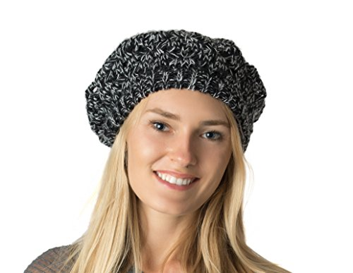 Black Speckled - Accessory Necessary Fall Winter Knit Beanie Beret Hat for Women Soft Knit Lining Many Styles (Black Speckled Crochet)