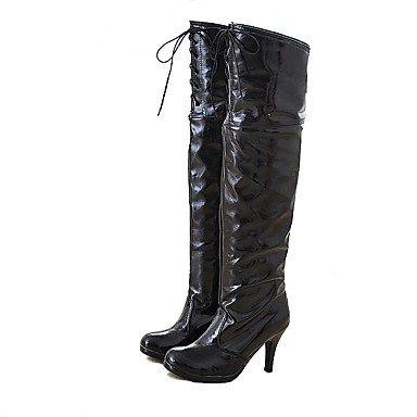 EU36 De CN36 Redonda Noche Blanco Botas Moda Puntera Para Botas UK4 RTRY amp;Amp; Botas La Charol Mujer Negro Zapatos Sobre Invierno US6 Parte Rojo Rodilla De EwHngqv4W