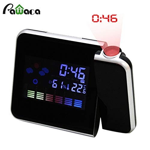 Modern Projection Alarm Clocks LCD Screen Digital Projection Clocks with Indoor Temperature USB Charging Port Snooze Calendar