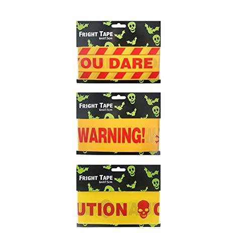 UltraZhyyne - 6007.5cm 1 PCS Random Halloween Mixed Warning Party Fright Tape Caution Tape Walking Dead Zombie Warning Tape Party Decorations [ 1pc Random Red ] -
