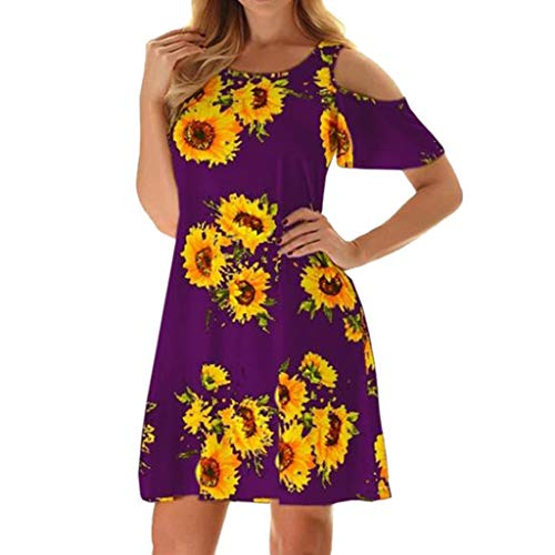 (GHrcvdhw Summer Women's Casual Off Shoulder Flower Print Loose Dress Scoop Neck Long Sleeve Soft Comfy Dress (Purple, S))