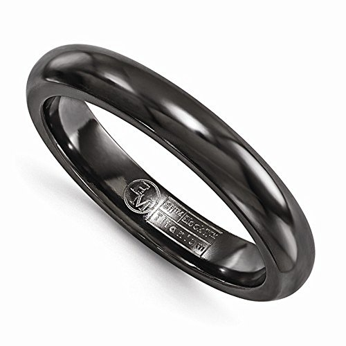 Edward Mirell Black Titanium High Polish Finish 4mm Wedding Band