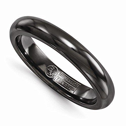 Edward Mirell Black Titanium High Polish Finish 4mm Wedding Band - Size 13 by Edward Mirell