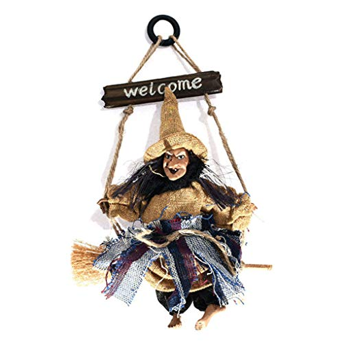 Hanging Witch Halloween Decoration with Sign Animated Halloween Props Haunted House Yard Bar Scary Decor, Hanging Witch Broom Dolls Figurine Hanged Wizard Ornaments Holiday Season Halloween Gift