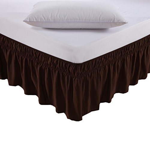 MEILA Three Fabric Sides Wrap Around Elastic Solid Bed Skirt, Easy On/Easy Off Dust Ruffled Bed Skirts 16 Inch Tailored Drop (Chocolate (Bedskirt Solid Chocolate)