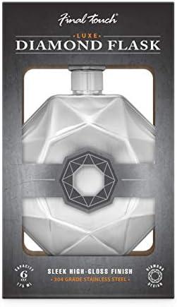 Final Touch Petaca de lujo Diamond elegante, acabado brillante, unisex, tamaño de bolsillo, 175 ml, tapa de rosca de 6 onzas, acero inoxidable 304 de grado comercial, color plateado