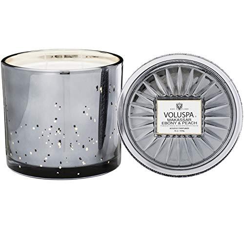 Voluspa Makassar Ebony and Peach Grande Maison 3 Wick Glass Candle, 36 Ounces