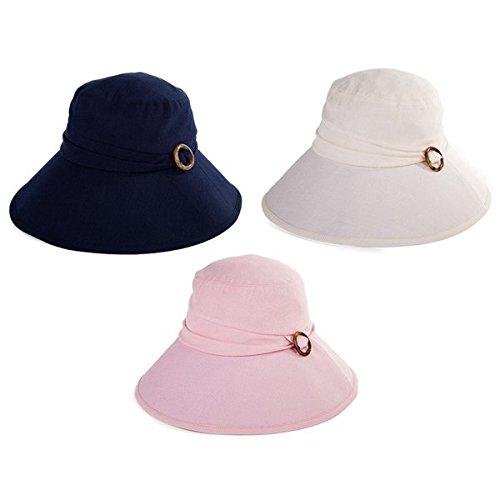 Siggi Cotton Bucket Cord Sun Hat Summer Cap Wide Brim UV SPF 50 for Women Pink