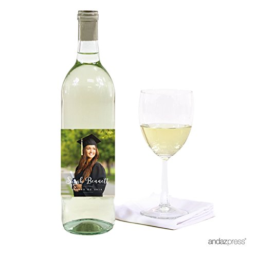 Andaz Press Photo Personalized Storybook Graduation Collection, Wine Bottle Labels, 20-Pack, Custom Image