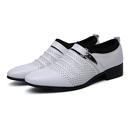 Tamaño 40 2018 Zapatos Hombre Hombre Transpirable Upper Negocios De Fang Blanco Slip Oxfords Mesh Pu color Splice shoes on Negro Leather Smooth Eu RpEHwcq