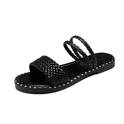 JJLIKER Womens Single Band Slip-On Flat Slide Sandal Woven Open Toe Sandals Slippers
