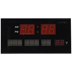 DBTech JID0312RED Big Oversized Digital Red LED Calendar Clock with Day Date and Temperature (Red)