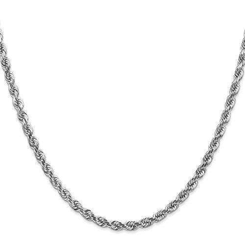 14k Solid White Gold 4mm D/C Rope Chain Necklace 18 - Rope Mm 4 Dc