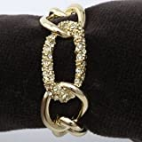 Lobjet Platinum And Gold Napkin Rings Gold Plated Chain With Yellow Swarovski Crystals Link Set Of 4