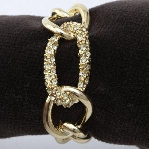 Lobjet Platinum And Gold Napkin Rings Gold Plated Chain With Yellow Swarovski Crystals Link Set Of 4 by L'Objet