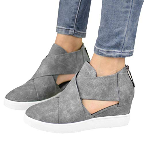 b47c087b8c42f Creazrise Women Fashion Back Zipper Side Cuts Closed Toe Wedege Increased  Heel Ankle Booties (Black,9)