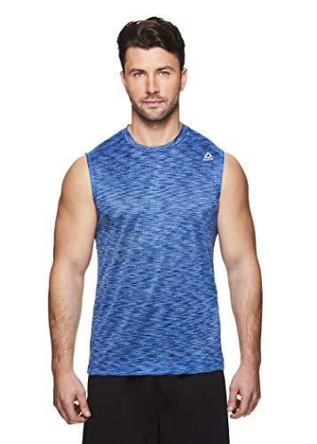 Reebok Men's Muscle Tank Top - Sleeveless Workout & Training Activewear Gym Shirt - Push Press Electric Blue Leomade, Large