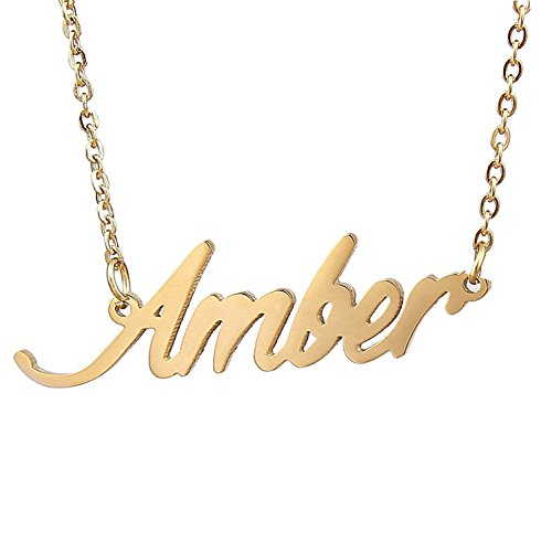HUAN XUN Gold Color Plated Name Necklace Girls Gifts, - Script Name Earrings