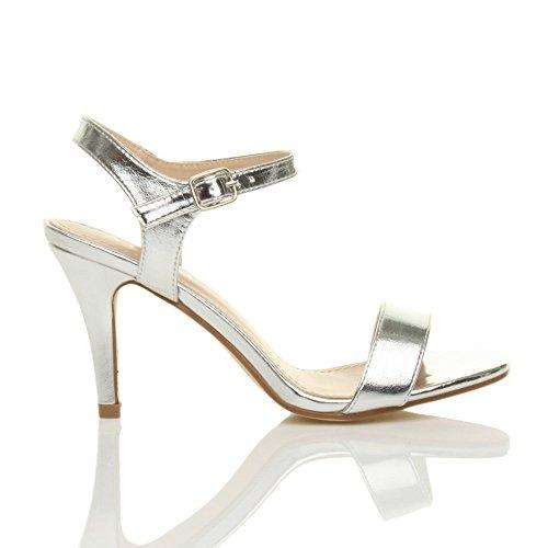 cinghietti partito alto tallone numero scarpe Argento sandali cinturino caviglia Donna Metallizzato PqISxBEx