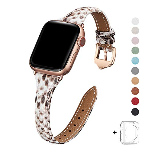 WFEAGL Leather Bands Compatible with Apple Watch 38mm 40mm 42mm 44mm, Top Grain Leather Band Slim & Thin Wristband for iWatch Series 5 & Series 4/3/2/1 (Snake Band+Rose Gold Adapter, 38mm 40mm) (Watch Snake)
