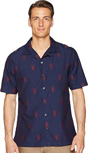 Todd Snyder Men's Short Sleeve Jacquard Shirt Indigo Small - Embroidered Jacquard Shirt