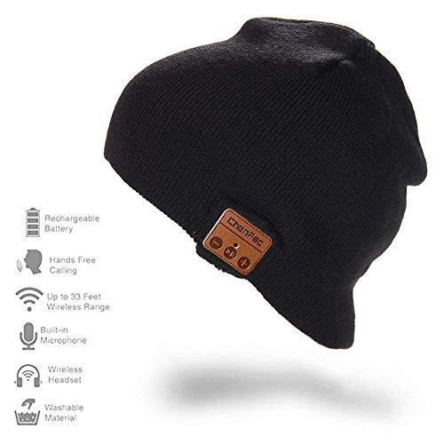 HONGYU Bluetooth Hat CHENFEC with Wireless Headphone Headset Earphone Speaker Mic Hands-free Winter Sport Knit Cap Best Christmas Gifts (Black)