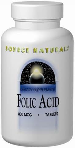 SOURCE NATURALS Folic Acid 800 Mcg Tablet, 1000 Count