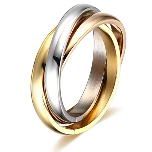 - FOXI YOUTH 3MM Womens Stainless Steel Tri Color Interlocked Rolling Band Wedding Love Ring for Girl