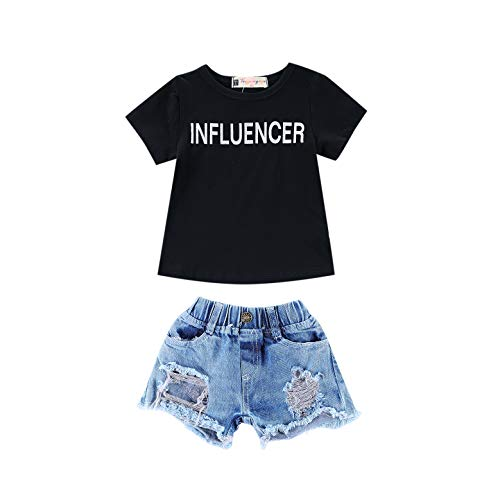 2Pcs/Set Toddler Baby Girls 4th of July Outfits Set Sleeveless Tassels Vest Tops+Ripped Denim Shorts Summer Clothes (Black, 5-6 Years)
