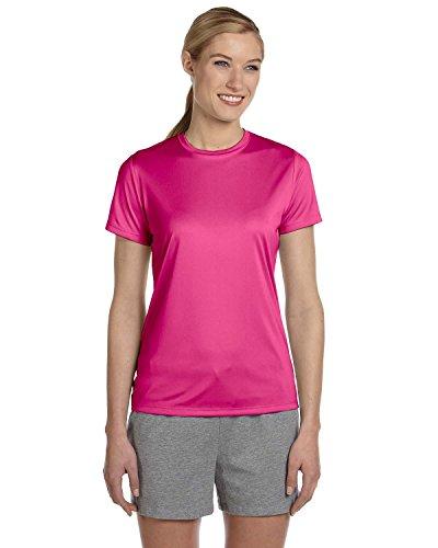 Hanes Ladies Cool DRI with FreshIQ Performance T-Shirt - WOW PINK - L - (Style # 4830 - Original Label)