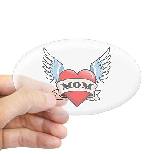 (CafePress Mom Tattoo Winged Heart Oval Sticker Oval Bumper Sticker, Euro Oval Car Decal )
