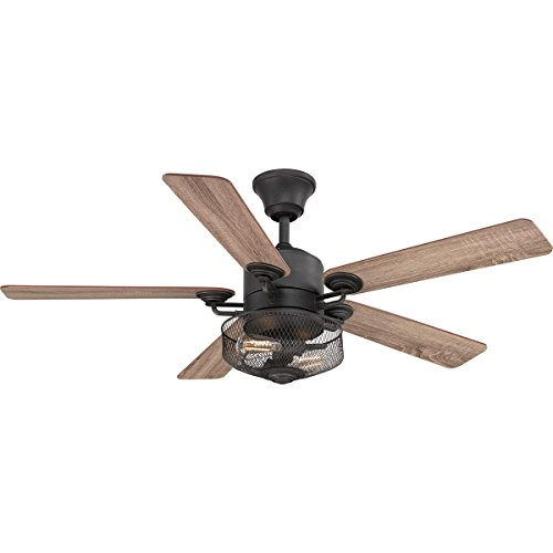 Progress Lighting P2584-71 Protruding Mount, 5 Toasted Oak/Driftwood Blades Ceiling fan with 6.5 watts light, Black