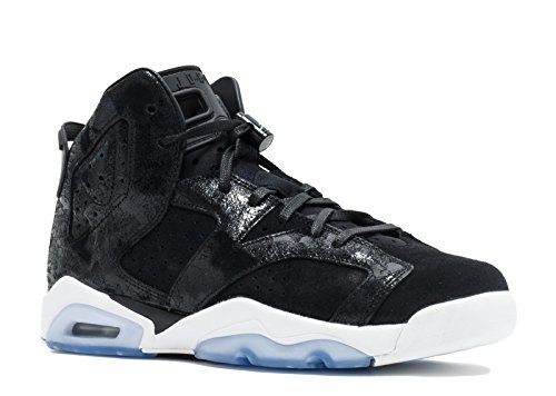 Jordan Big Kids Girls' Air Jordan 6 Retro Premium Heiress Collection GS black black-white-gym red Size 9.0 US