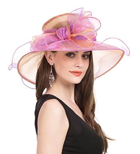 Saferin Women's Organza Church Derby Fascinator Bridal Cap British Tea Party Wedding Hat (GZ-Pink Big (Big Pink Hat)