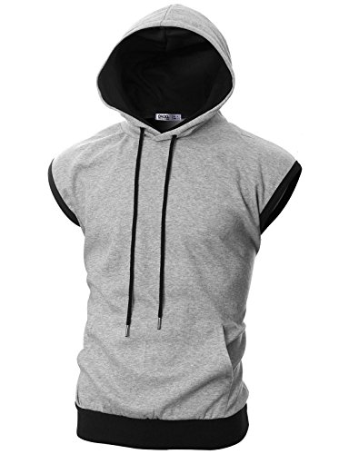 Ohoo Mens Slim Fit Sleeveless Color Combination Lightweight Hooded Vest /DCF114-GREY/BLACK-S