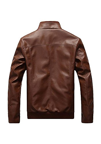 With Motorcycle and Leather Stand Jacket Slim Men XINISI Winter Down Black for Leisure Collar PU Fit Uxw0n1q8