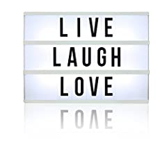 Inspired by old Hollywood vintage cinema, slide interchangeable clear plastic tiles into rails on the front of this sleek lightbox to create words and phrases. Flip a switch and watch your words light up with life! Great for home décor, weddi...