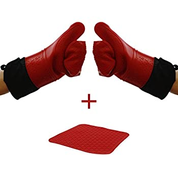 Number 1 Chef's Choice - Extra Long Silicone Oven Mitts With Trivet - Quilted Cotton Lined Silicone Kitchen Gloves - Heat Resistant Potholder Gloves - Set of 2 with Silicone Trivet - Elbee 642